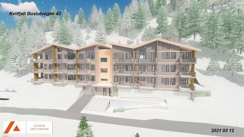 Slik ser Larkas Arkitekter for seg leilighetsbygget i Bustulvegen i Kvitfjell.
