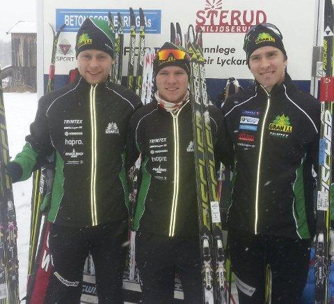 GRAN IL: Petter Rinde Øverland (til venstre), Johan Sørum Gangsø og Karstein Johaug jr. var fornøyd med stafettinnsatsen.