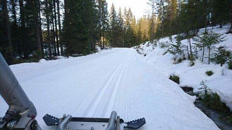 Bildet er fra Brovoll fredag 9. desember ved 13.00-tida.