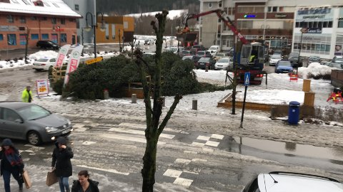 MÅTTE GI TAPT: Ei vindkule i kombinasjon med arbeidet med å rette opp juletreet i Gran sentrum fikk konsekvenser.