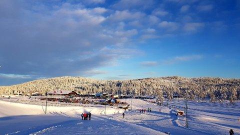 I KNALLVÆR: Stadion på Lygna viste seg fra sin beste side i knallværet lørdag. Foto: John Olve Johnsen