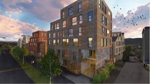 FRA ØST: Slik planlegges bebyggelsen, sett fra øst, med seks etasjer som er tenkt å hjørne inn kvartalet.