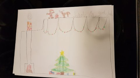JUL: Jakob 8 år har laget denne fine tegningen.