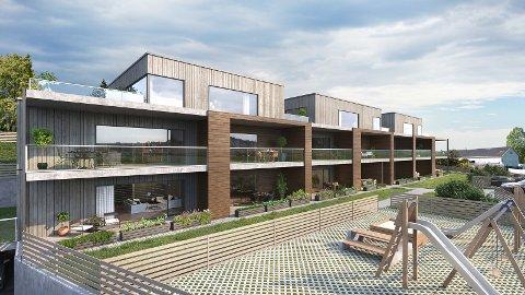VESTVENDT: Leilighetene får vestvendt utsikt, med leiligheter i tre etasjer.