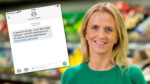 SVINDEL: Disse meldingene utgir seg for å være konkurranser fra KIWI, men det er slettes ikke tilfelle, advarer kommunikasjonssjef Kristine Aakvaag Arvin.