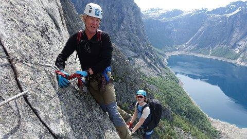 GAVE: Ole fikk klatretur til Via Ferrata Trolltunga i gave da han fylte 60 år.