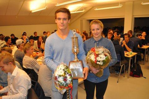 Alexander Skorpen (til venstre) og Sofie Forsstrøm er årets vinnere av Saubrugs Ærespris.
