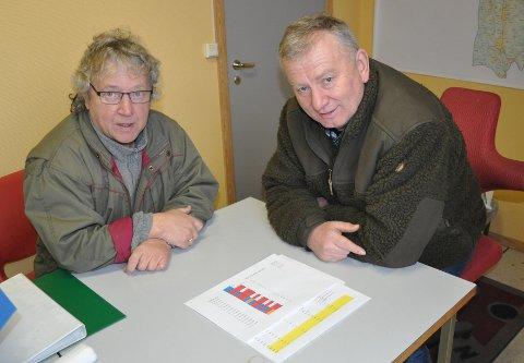 Rolf Ganerød (til venstre) og Bjarne Granli er nedstemt over genprøvene som viser at laksen i Tista har opp til 70 prosent innslag av oppdrettslaks. FOTO: ØIVIND KVITNES