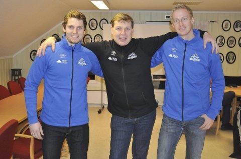 Fornøyd trio: Kviks leder Bjørn Brevig (i midten) med sitt nye superteam. Daglig leder Joacim Heier og markeds- og sportssjef Anders Viken.Foto: Atle Wester Larsen