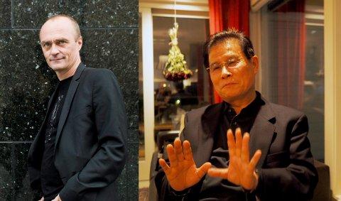 SPISTE SAMMEN: Jarle Aabø (t.v.) inviterte Nord-Koreas diplomat Kang Yong Dok på ribbemiddag tirsdag kveld denne uken.