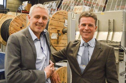 Blide gutter: Eirik Milde (til venstre) og Roy Moberg var begge fornøyd etter gårsdagens besøk og omvisning på Teknotherm.