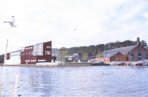 Slik blir bygget seende ut fra elva. Tegning: SG Arkitekter.