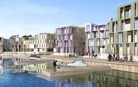 Slik håper utbyggerne at Fredrikshalds brygge skal se ut. et blir i all hovedsak på fire etasjer, med innslag av en femte etasje på toppen av noen av blokkene. ILLUSTRASJON: Ola Roald AS