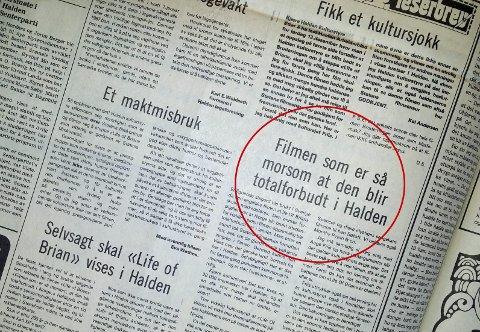 FRITT ORD: Halden Arbeiderblad flommet over av leserinnlegg om «Life of Brian» i desember 1980.