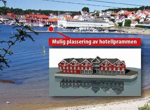 FLYTENDE HOTELL: Illustrasjonen viser hvordan det flytende hotellet kan bli. En mulig plassering på Skjærhalden er «trelasttomta», som kanskje er eneste ledige areal ved sjøen.