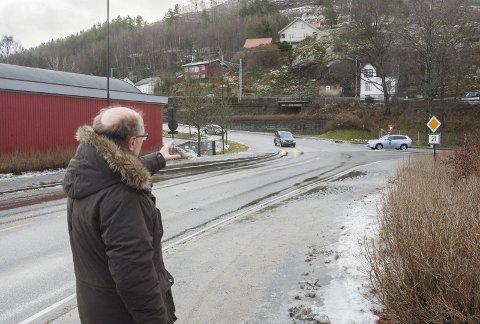 Tunnel her? Her peker Halden kommunes Espen Sørås mot området hvor tunnelen er tenkt. foto: stein johnsen
