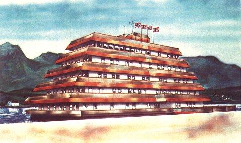 HALDEN 1986: Tegning av flytende hotell i Halden datert 7. august 1986.