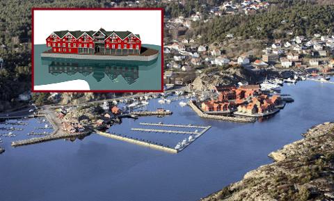 FLYTENDE HOTELL: På Hvaler er det planer for et flytende hotellprosjekt i Skjærhalden-området. Kommunestyret blir orientert om nye og store visjoner i sitt møte torsdag. (Bildemontasje: FB/Innfelt illustrasjon av det planlagte hotellet er hentet fra Byggfakta.no