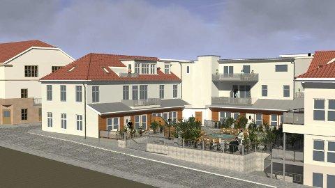 SLIK KAN DET BLI: Slik kan det bli seende ut på Lilletorget dersom Thore Lærum får grønt lys for 10 nye leiligheter i de tidligere næringslokalene. Fasaden blir endret, og torget blir en liten park.