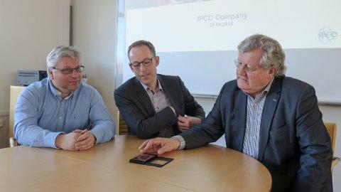 IPCO: Teknisk sjef Torbjørn Faller (fra venstre), daglig leder Ole Jakob Ottestad og styreleder Tor Øyvind Frydenberg.