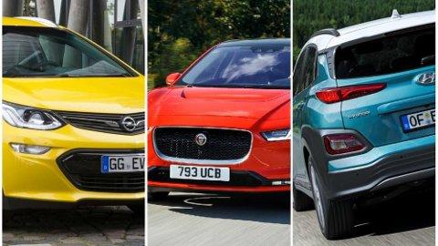 Opel Ampera-e, Jaguar I-pace og Hyundai Kona Electric er de tre elbilene i Norge som har klart lengst leveringstid akkurat nå.