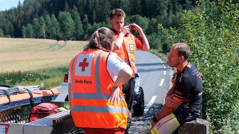 MÅTTE BRYTE: Espen Eikevold fra Arendal måtte bryte ved Berby. Per klokka 14.50 hadde Røde Kors behandlet 50 skadde i forbindelse med Grenserittet.