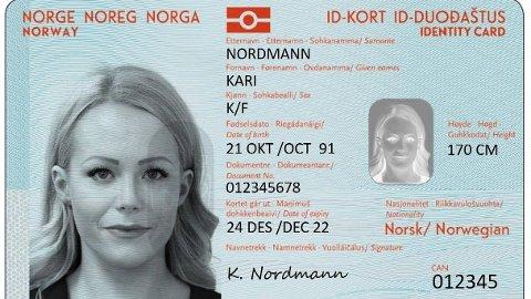 Slik vil de nye ID-kortene se ut. De vil være klare tidligst i januar neste år, ifølge en ny statusrapport. Foto: Politiet (NTB scanpix)