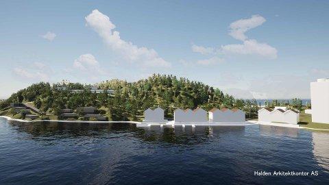 LANSERER FORSLAG: Halden Arkitektkontor har utabeidet konseptskisser for Saugbrugs. Skissene viser hvordan det kan bli på Sauøya.