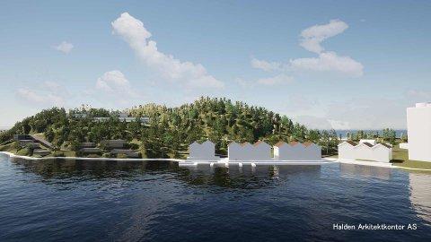 SLIK KAN DET BLI: Halden Arkitektkontor har utabeidet konseptskisser for Saugbrugs. Skissene viser hvordan det kan bli på Sauøya.