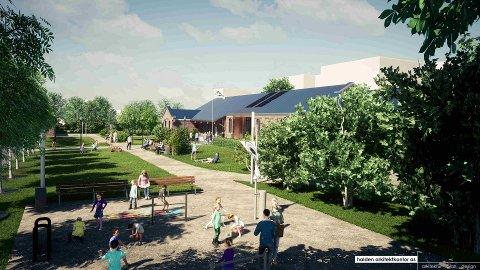 Dette er en av skissene som viser hvordan Byparken kan bli.