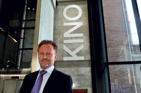 FORNØYD: Kinosjef Espen Jørgensen i Hamar er fornøyd med kinoåret 2014. FOTO: Bjørn-Frode Løvlund