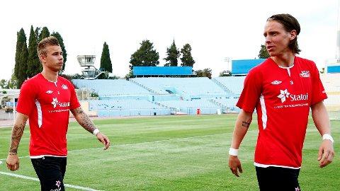 SAMMEN: Marcus Pedersen (t.v.) og Stefan Johansen på treningen til det norske U21-landslaget i Tel Aviv. Nå skal de spille sammen på A-landslaget.