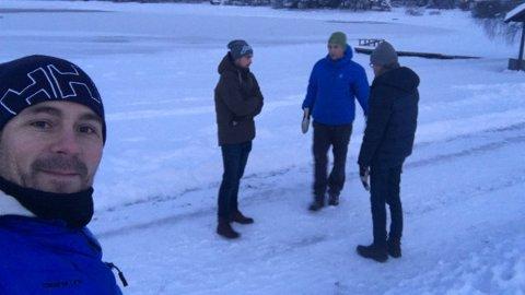 BEFARING: Truls Pedersen på befaring på Domkirkeodden. Her vil han sette opp årlig vinterkino.