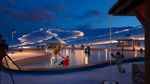 Ein skøytebane er eitt av elementa Eidfjord Resort ynskjer å få på plass i Sysendaleni fyrste byggjefase. Illustrasjon: Eidfjord Resort