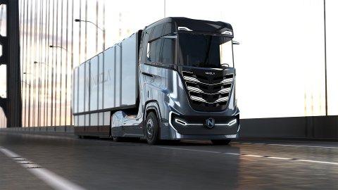 Trekkvogna Nikola Tre er spesielt utvikla for den europeiske marknaden. Felleskjøpet har reservert 50 slike hydrogen-elektriske lastebilar. Illustrasjon: Nikola