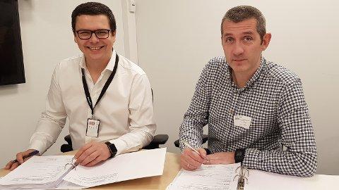 Fra venstre Birger Steffensen, økonomi og styringssjef for Bane NOR og Svein Tore Haraldseid, leder for Omega PS.