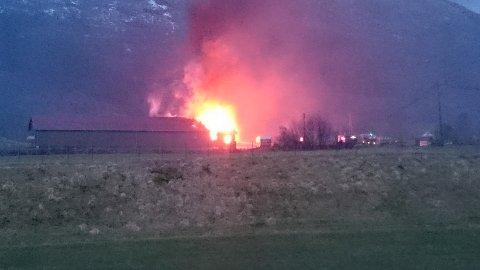 OVERTENT: Det brant kraftig i kyllingklekkeriet i Sandeid like før klokken 07.30 søndag morgen. Foto: Tipser