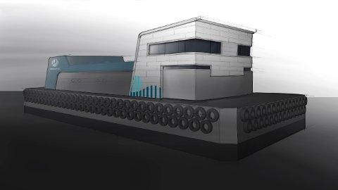 DEN FØRSTE: Konseptskisse av betongflåten.