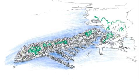 Slik ser man for seg at sprengt stein fra Rogfast kan gi større sentrum i Føresvik. TEGNING: Opus Arkitekter for Bokn Eiendomsutvikling.