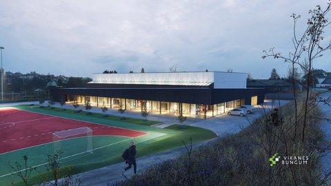NY HALL: Karmøy kommune skal bygge ny idrettshall på Vormedal, like ved Vormedal Ungdomsskole. Slik ser de nye tegningene ut.
