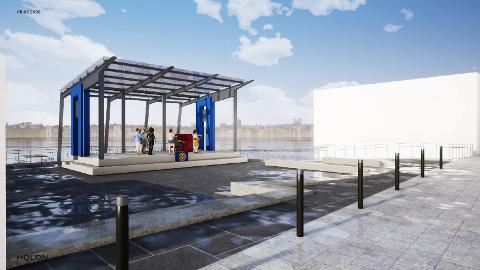 UTESCENE: Kopervik Rotaryklubb vil få denne scenen på plass i byen i løpet av 2021.