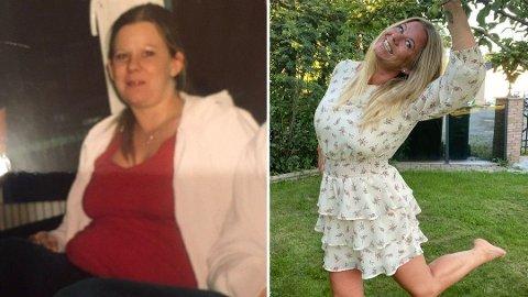 SUKSESS: Carina Dybdahl (38) følte seg aldri vel på treningssenteret og tok treningen hjem. Etter å ha gått ned nesten 40 kg har hun tre råd til andre som vil forsøke det samme. Foto: Privat