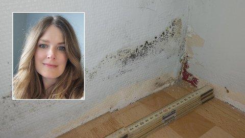 AVVISTE SKADE: Skaden Hanna Hermstad oppdaget bak et klesskap førte til en erstatning fra selger på 250.000 kroner og full drenering av det nyinnkjøpte huset. Foto: Privat