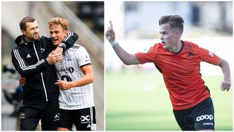 PÅ BLOKKA TIL FKH: Rosenborgs Erik Botheim (t.h.) og Åsanes Henrik Udahl (t.v.).