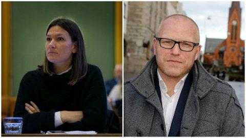 UENIGE I STADION-SAKEN: Aps gruppeleder Johanne Halvorsen Øveraas (t.v.) og Avaldsnes-sjef Asle Skjærstad, som tidligere har jobbet i FKH.