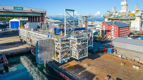 STOR MOUL: Den store modulen er satt sammen på Stord.