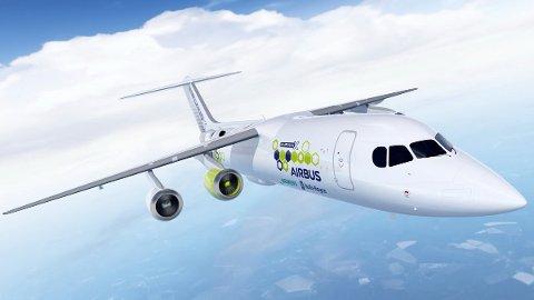 Elflyet fra Airbus, E-fan X, er ett av flere konsepter som nå studeres blant de store flyfabrikantene. Illustrasjon: airbus