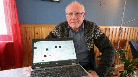 Hans Petter Bergland lager onsdagskryssordet i Helgelands Blad.