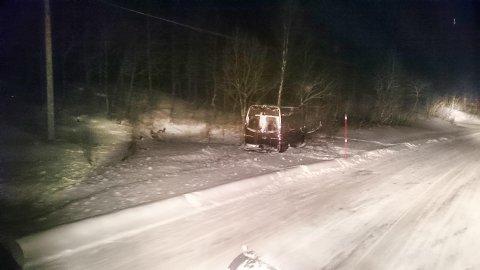 UTFORKJØRING: Tre personer skal være lettere skadet etter utforkjøringen på Krutfjell.