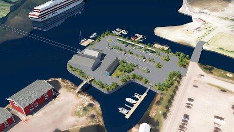 GONDOLBANE: Helgeland Skylift AS vil fylle ut et nærmere åtte mål stort område nord for Mjaavatnbrygga (nede t.v.) for å realisere gondolbanen til Øyfjellet inkludert fasiliteter og parkeringsplass.